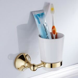 Gold Color Brass Toothbrush Holder Single Ceramic Cup Holder Wall Mounted ZD879