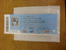 15/09/2009 BIGLIETTO: COVENTRY CITY V Sheffield United (SKY Creations Lounge). UNL