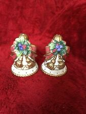 FITZ AND FLOYD CLASSICS BELLS WITH RIBBON CHRISTMAS SALT AND PEPPER SHAKERS