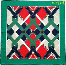 """GUCCI red & green GG jacquard CHAIN ARGYLE silk twill 34"""" scarf NWT Authent $440"""