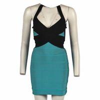 HERVE LEGER Dress Black Blue Halterneck Bandage Size Small WW 182