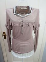 REISS Silk Jersey Top Size M 12 Quirky Artisan Long Sleeve Casual Ruffle Frill