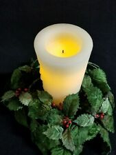 Holly & Berry Christmas Centerpiece Battery Lite White Pillar Candle Holiday Dec