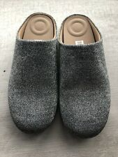 FitFlop CHRISSIE GLITZY Ladies Textile Slip-On Mule Slippers Pewter Size 4 New