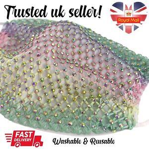 Adults Rainbow Mermaid Diamante Netting Fabric Face Mask Washable Reusable