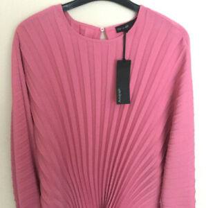 Ladies M&S Autograph Size 14 Peony Pink Soft Long Sleeve Pleated Blouse Top Bnwt