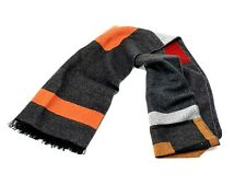 Scarf Men's Grey Orange Cotton Wool Blend