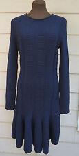 NEW $1840 Valentino XL Navy Blue Knit Sweater Dress 14 16 Virgin Wool Knee-Lengt