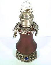 GLASS PEWTER CRYSTAL PERFUME BOTTLE FROSTED PURPLE GRAPE DESIGN GIFT
