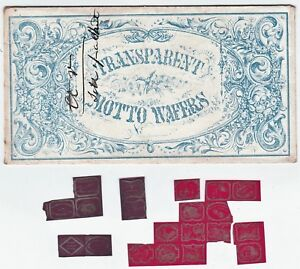 xRARE - Fancy  1840s Transparent Motto Wafers Seals Letter Cover Unused stamp