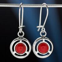 Koralle Silber 925 Ohrringe Damen Schmuck Sterlingsilber H0572