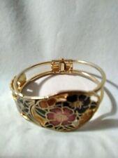"""Vintage Cloisonne Colored Floral Leaves Clamper Tension Bracelet 7""""-8"""""""