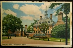 Williamsburg VA Postcard Vtg 1951 Governors Palace