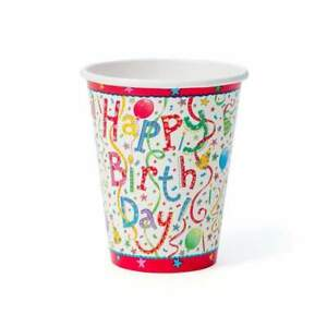 Caspari Paper Cups, Happy Birthday, 2 Packs (9100CP)