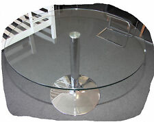 Tori Chrome Round 1050mm Clear Glass Top Dining Table  - BRAND NEW