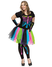Adult Womens Sexy Neon Rainbow Skeleton Tutu Dress Plus Size Halloween Costume