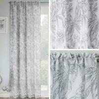 Grey Voile Curtain Madison Floral Leaves  Panel Ready Made Rod Slot Top Curtains