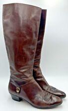 Women's Salvatore Ferragamo Vintage Brown Leather Knee High Boots Sz 8