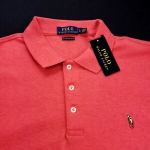 Polo Ralph Lauren Mens Mesh Polo Shirt Embroidered Pony Classic Fit Large Pink