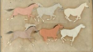 Antique/ Vintage Parchment with Running Horses Gouache Framed Glazed