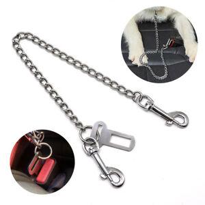 Metal Seat Belt Leash Dog Car Safety Harness Collar Restraint Lead Chew Proof