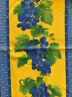 """French Fabric Piece Grapes Bees Blue Green Yellow Quilting Sewing Crafts 26x60"""""""
