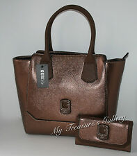 New Guess Asherton Carryall Handbag Purse Hobo w/Wallet Bronze NWT