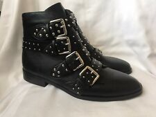 New KRUSH Black Faux Leather Strappy Studded Boots - UK Size 8 / EU 41