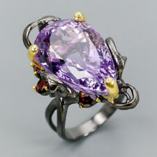 Handmade SET30ct Natural Amethyst 925 Sterling Silver Ring Size 7.75/R112478