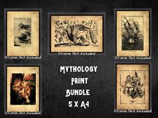 More details for mythology dark bundle x 5 a4 ancient art picture mermaid kraken griffin medusa