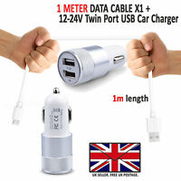 In Car Fast Dual Charger PLUS Micro USB Charging Cable For Oppo A9 (2020)