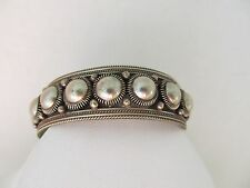 Rare Siam Sterling Ornate Domed Sterling Silver Cuff Bracelet