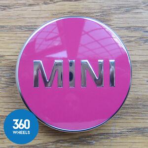 1 x NEW GENUINE ORIGINAL MINI ALLOY WHEEL CENTRE CAPS HUB BADGES PINK F56
