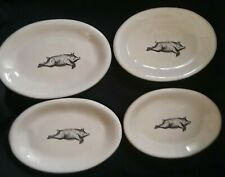 🐖 4 VTG STYLE VAGABON FLYING PIG DISHES RESTURANTWARE OVAL PLATES~FARM HOUSE