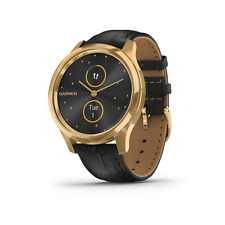 Garmin Vivomove Luxe Gold with Black Leather Band Hybrid Smartwatch