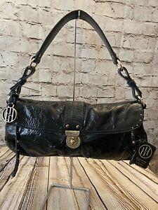 NWT Hayden Harnett Black Shoulder Bag Studded Patent Leather Turn Lock Hobo Blue