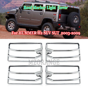 4PCS Chrome Roof Cab Marker Light Trim Cover For HUMMER H2 SUV SUT 2003-2009