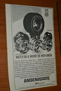 ★★1973 ANSEN SPRINT / II WHEELS ORIGINAL ADVERTISEMENT AD 73 5 HOLE RIMS MAGS