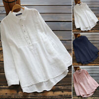 ZANZEA Women Cotton linen Tunic Tops Ladies Long Sleeve Button Down Shirt Blouse