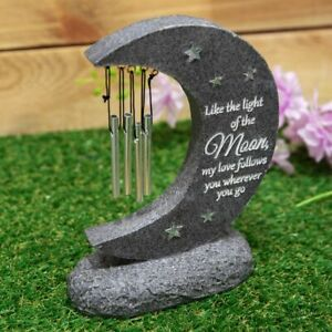 Graveside Stone Moon Wind Chime, Thoughts Of You Memorial Plaque, Grave Ornament