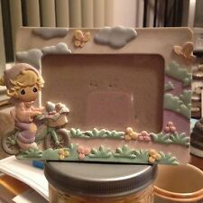 Vintage 2003 Precious Moments Girl on Bicycle Pastel Colors Picture Photo Frame