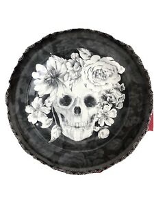 "Set 2-222 FIFTH Marbella Skull Flowers Black Halloween 10"" Dinner Plates Gothic"