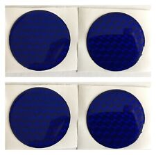 ALLOY WHEEL CENTRE CAP STICKERS DOMED RESIN X4 BLUE 3D HOLOGRAM 45mm All Sizes