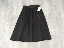 zara black satin flared skirt size small