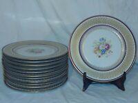 "12 ROSEDALE CHINA USA FLORAL Porcelain Dinner Liners Plates 11"" Gold"