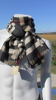 NEW BURBERRY scarf $450 men ITALY wool reversible classic check camel black bag
