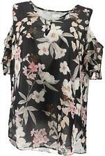 Isaac Mizrahi Tropical Floral Clip Dot Blouse Black 18w A306761