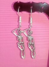 HANGING SKULL drop earrings goth,punk jewellery SKULL earring  SURGICAL STEEL