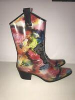 BEEHIVE RAIN BOPS Women's Cowboy 'Hot Rain' Colorful Rain Boots (SIZE 10)
