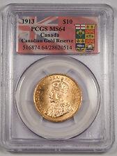 Canada 1913 $10 Gold Coin PCGS MS64 George V (0.4838 Oz AGW) GEM Gold Reserve